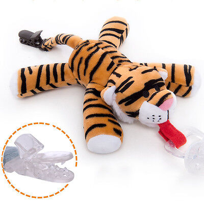 Tiger   Baby Kids Dummy Pacifier Soother Nipple Leash Strap Chain Clip Holders
