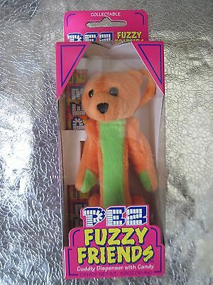 "PEZ FUZZY FRIENDS 2 large Dispensers 5"" TJ BEAR +GILBERT BEAR NIB 2000"