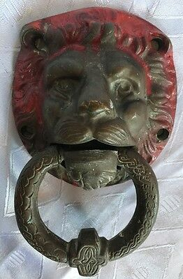 Antique Vintage Eretz Israel Palestine Lion Solid Brass / Bronze Door Knocker