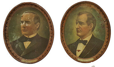 1896 President William McKinley & Wm J Bryan Twin Oval Portrait Trays