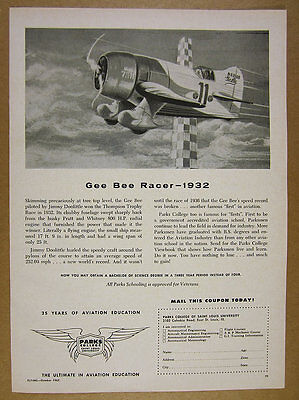 1962 Gee Bee model R racing plane art Parks Aviation College vintage print Ad