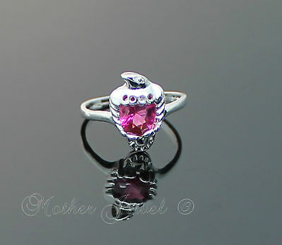 Glitzy Hot Pink Eagle Cz Womens Girls Ladies Silver Sp Dress Ring Size 6.5 M