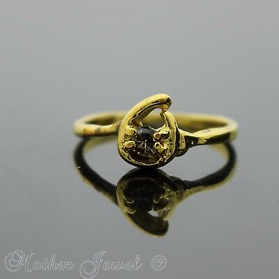 Pretty Petite Yellow Gold Plated Light Brown Womens Floral Design Ring Size 7.5