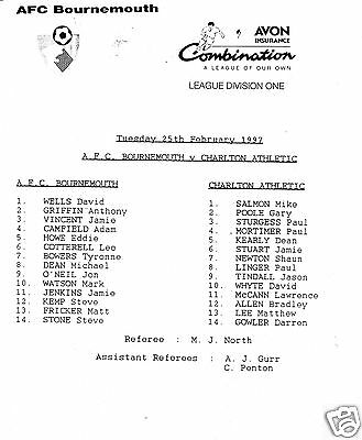 Bournemouth  V Charlton Athletic Reserves  Combination Lge  25/2/97