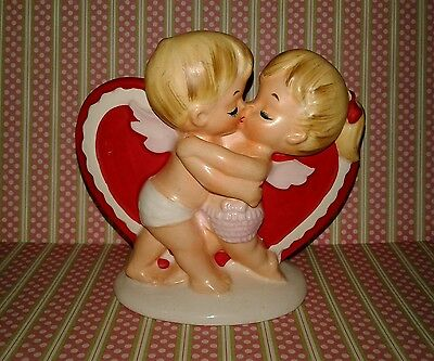 Vintage Lefton Valentine Day Planter Cupid Boy Girl