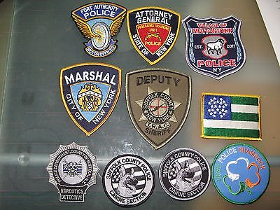 Lot Of 10 New York Police Suffolk Papd Atty General K9  Swat Narco Flag Li Patch