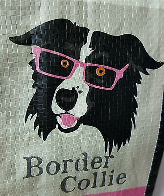 TJ Maxx Border Collie Dog Puppy in Mutt Mix w Eye Glasses Reusable Tote Bag Sack