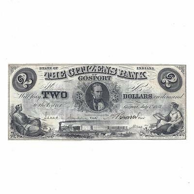 1857 The Citizens Bank of Gosport IN -  Indiana $2 Two Dollar Obsolete Bank Note