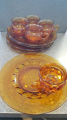Set of 5 Indiana Glass Amber Kings Crown Snack Plate and Cup Thumbprint