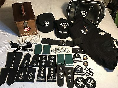 st john ambulance Wooden First Aid Box + Uniform Hats Badges Etc Lot 3