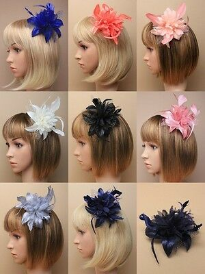 Fabric Flower & Feather Comb Fascinator, Wedding, Races, Occasion, Formal