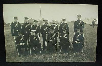 Real Photo Postcard Pre WW1 Officers In Uniform British at Tent Military Camp