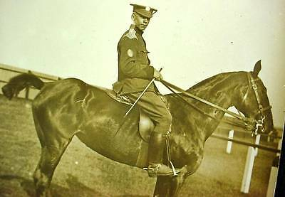 Photo Postcard Pre WW1 Mounted Soldier In Uniform Chain Epaulettes