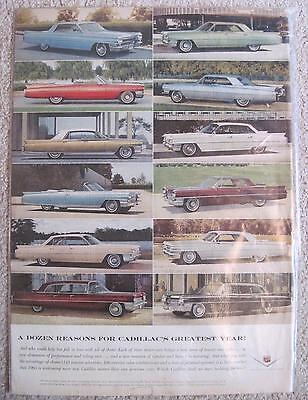 Vtg 1963 Cadillac Car Automobile Models ORIGINAL Print Ad Magazine Advertisement