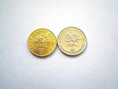 5 AND 20 LIPA COIN SET FROM MODERN DAY CROATIA-BOTH DATED 2011-nice