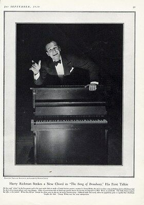 HARRY RICHMAN and Piano Page Photo by Harold Stein 1929