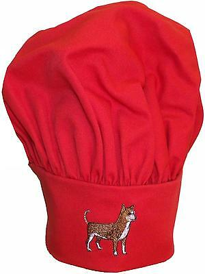 Brown & White Chihuahua Dog Breed Monogram Chef Hat Red Puffy Kitchen Cap Gift