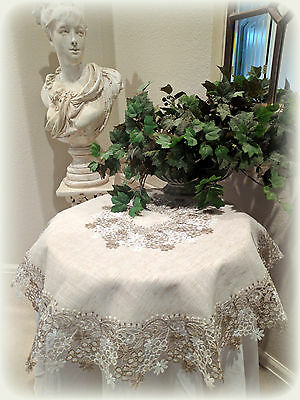 "Large Doily 34"" Sophisticated Floral Neutral Daisy Dresser Scarf Table Topper RD"