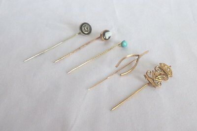 5 Assorted Vintage Stick Pins /Cameo/Turquoise