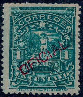 wf39 Mexico Official O10SP 1ctv CORREOEUM wmk Red Overprint MOG Est $15+