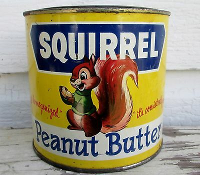 Vintage 48 Oz 1951 Squirrel Peanut Butter Tin  Litho Canada Nut Co Vancouver