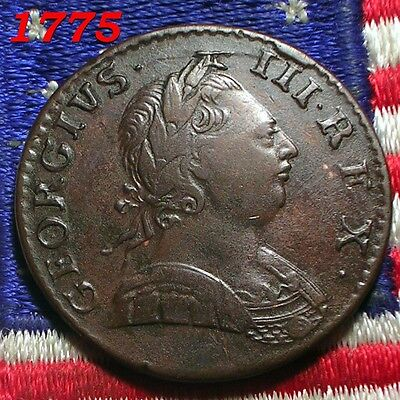 1775 KING GEORGE III HALF PENNY COLONIAL REVOLUTIONARY ERA COIN DAYS OF OLD Nice