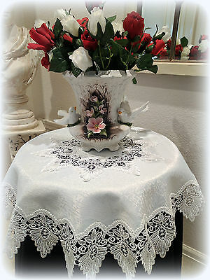 """35"""" Antique White Doily  Dresser Table Topper Formal European Lace Tablecloth"""