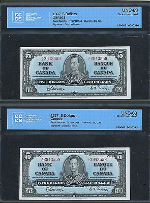 2 Sequential Serial # 1937 $5 Bank of Canada CCCS Choice UNC63 Consecutive notes