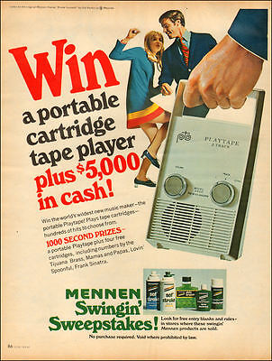 1967 vintage AD MENNEN Swingin Sweepstakes Playtape Tape Player & $5000  042517