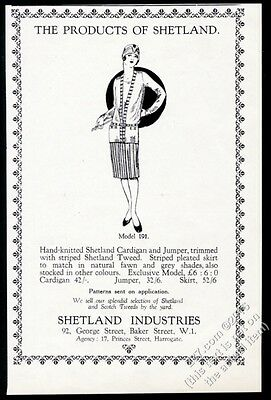 1928 Shetland Industries women's cardigan sweater fashion art vintage print ad