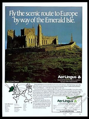 1985 Aer Lingus 747 plane Rock of Cashel Tipperary photo vintage print ad