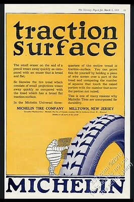 1919 Michelin Man Bibendum art tread detail vintage tires tire print ad