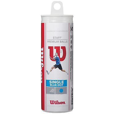 Wilson Staff Blue Dot Fast Practice Beginners Squash Balls - Tube of 3