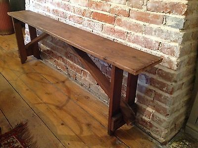 Antique Vintage French Solid Pine Rustic Folding Bench Chair Seat