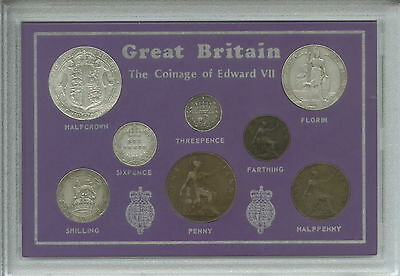 1902-1910 GB Coinage of King Edward VII Type Coin Collection Collector Gift Set
