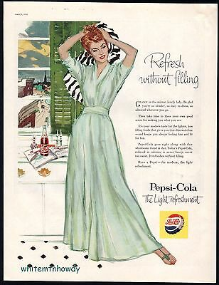 1956 PEPSI-COLA Soda Pop AD Redhead Woman in Dressing Gown