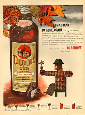 1942 WW2 era beverage AD DUBONNET Wine Aperitif  Nice Art by Paul Rand  042517
