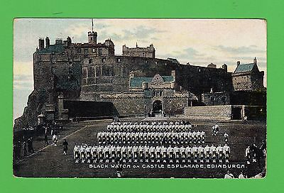 Vintage postcard. Black Watch on Castle Esplanade, Edinburgh. 1912