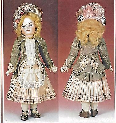 "22""antique French F.g/jumeau@1882-1890 Doll Jacket-Dress Pattern German Child"