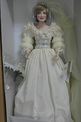 "Franklin Mint Princess Diana Wedding Bride Porcelain Doll 17"" With COA MIB"