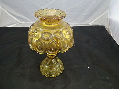 Vintage L.E. Smith Glass Moon and Star Amber Fairy Lamp or Candle Holder