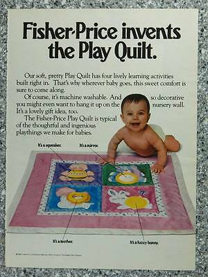 1984 Fisher Price Play Quilt - Vintage Magazine Ad Page - Cute Baby in Diaper