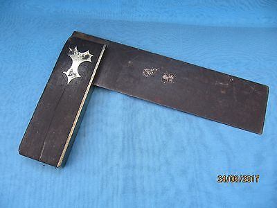 Vintage ~ Carpenters' TRI-SQUARE in Wood & Brass with Steel Blade