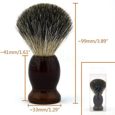 Men Pure Badger Hair Wet Shaving Brush Dark Brown Wood Handle Salon Barber Tool