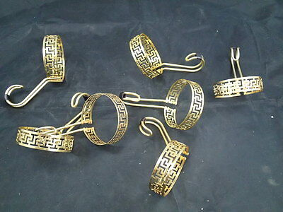 Set of 7 Vtg Libbey Gold Handle Greek Key Continental Coffee Tea Cup handles