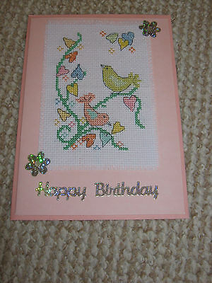 Handmade Completed Cross Stitch Card Birds on Pink Happy Birthday