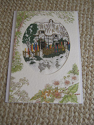 Handmade Completed Cross Stitch Card - Farmyard/Cottage - Happy Birthday