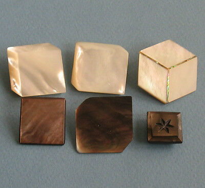 6 Buttons Mother-of-Pearl Illusionistic Cubes Squares