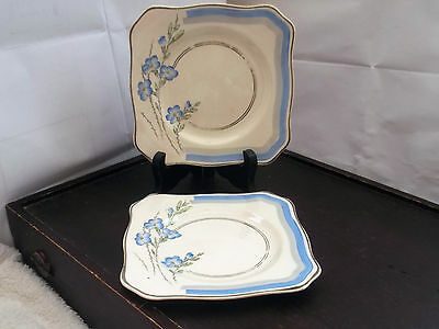Two 1936 Soho Pottery Solian Ware   Square Side Plates In Jasmine Pattern