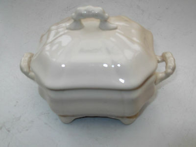 Small Shaped  Lidded Sugar Bowl / Trinket Box With Twin Handles In Cream Ware